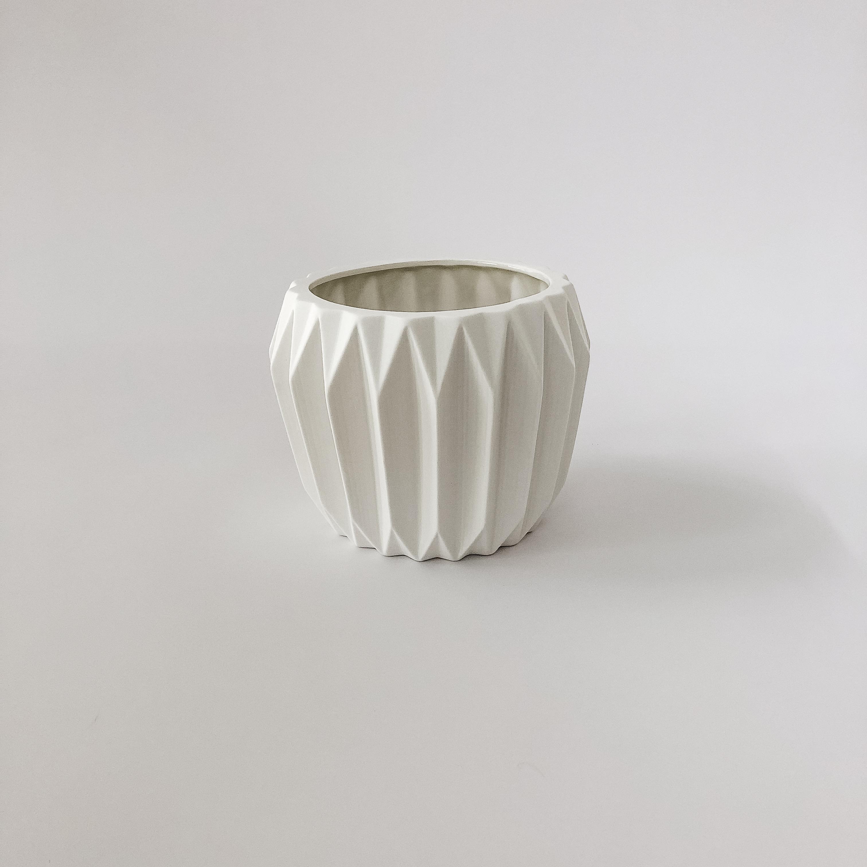 white fluted flower pot