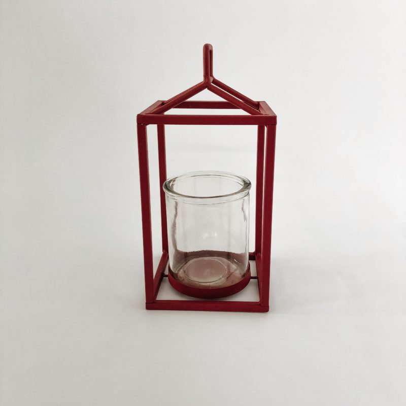 Red vintage hurricane lantern