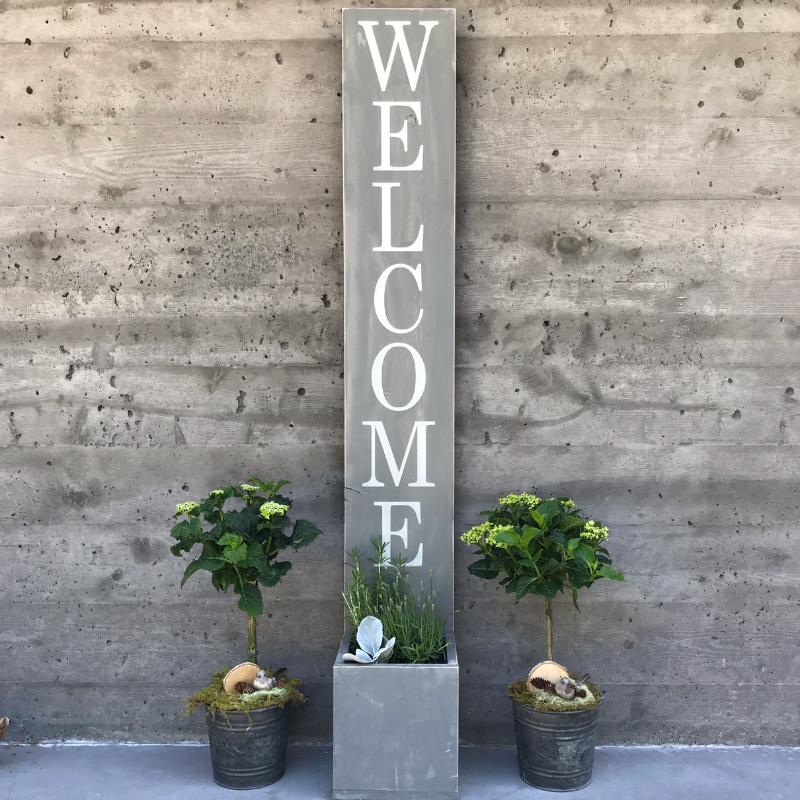 Welcome Sign Planter with Perennials