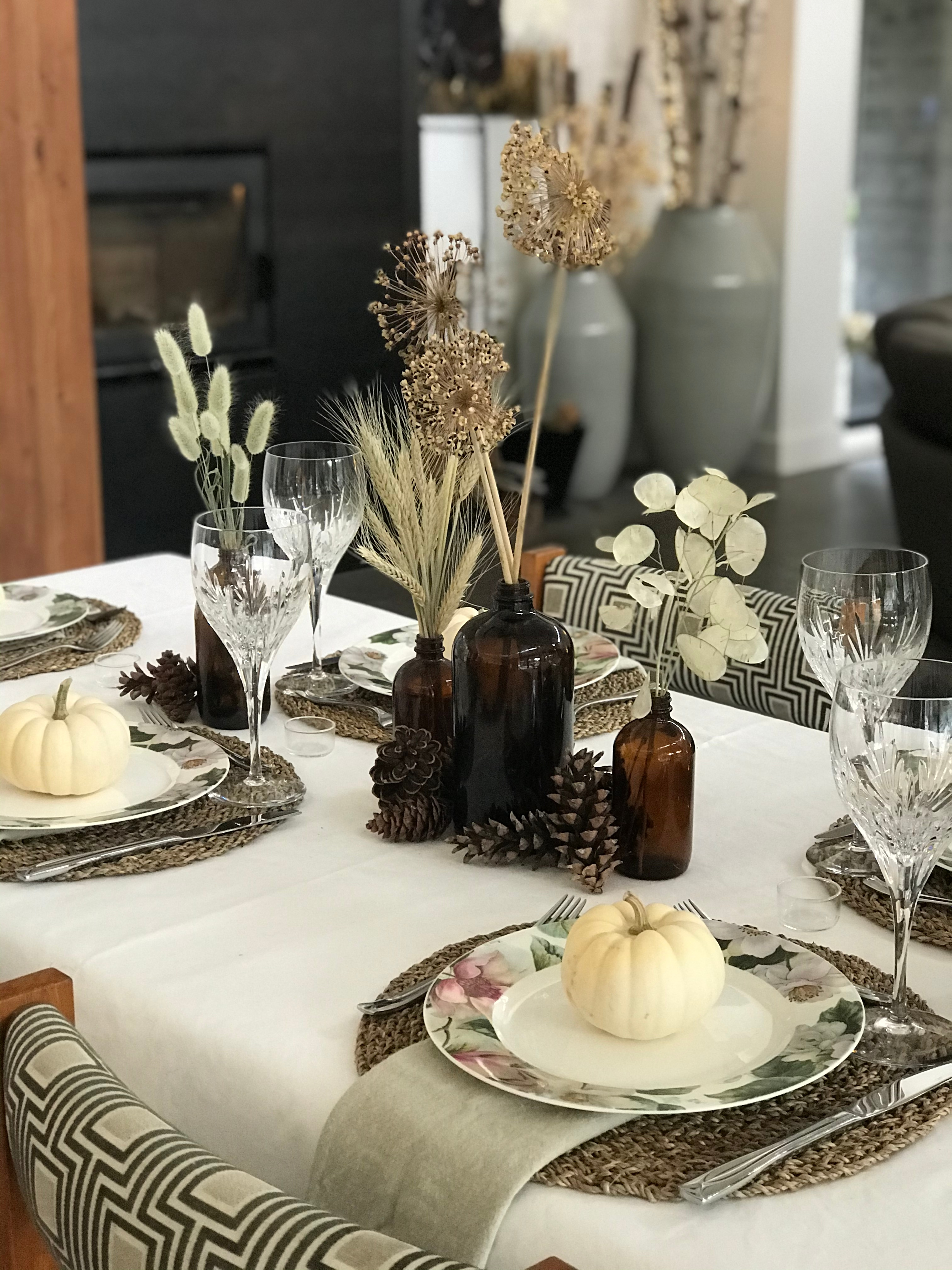 Tablescape with Pine Cones