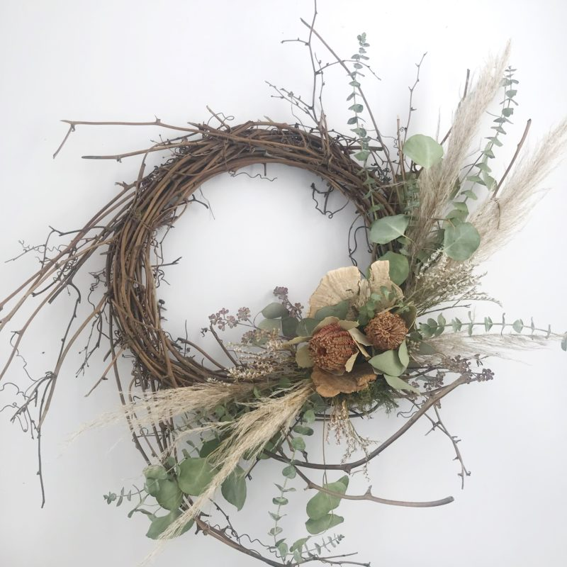 Spring Vine Wreath with Pampas Grass